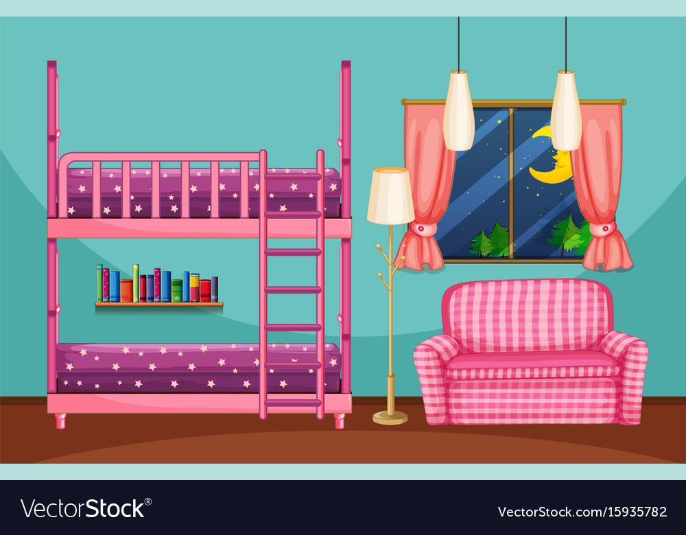 Bedroom With Bunkbed And Pink Sofa