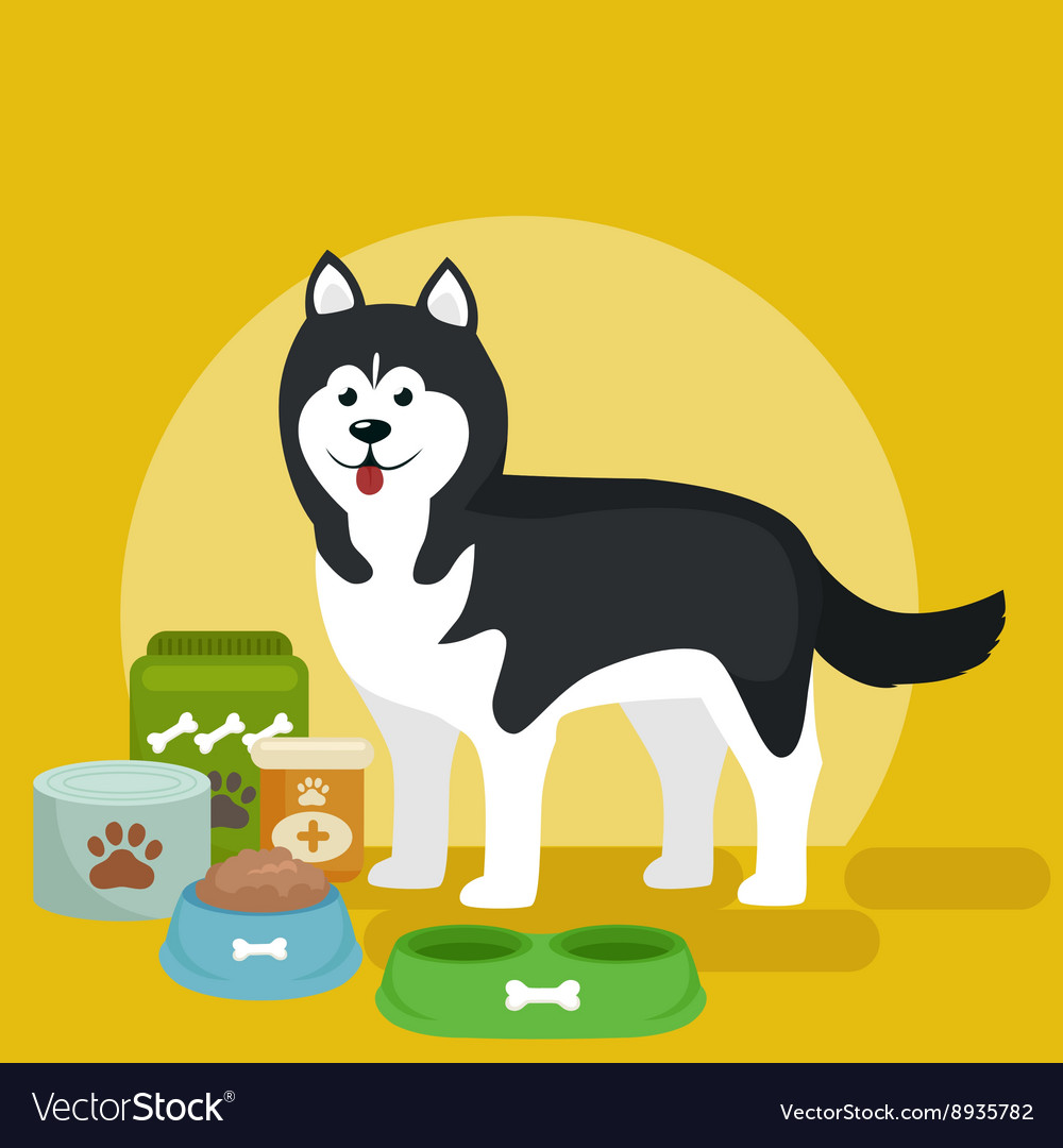 Cartoon of Husky with food bowl