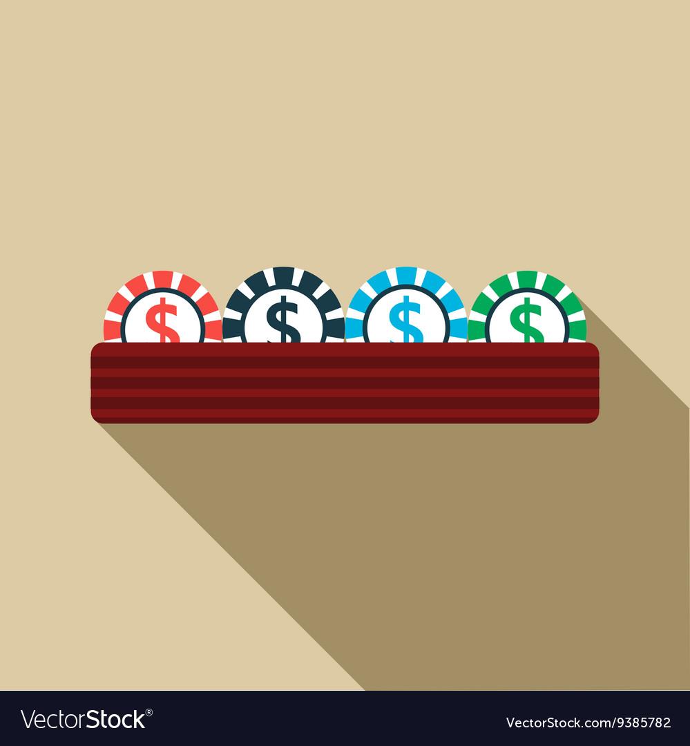 Casino gambling chips icon flat style