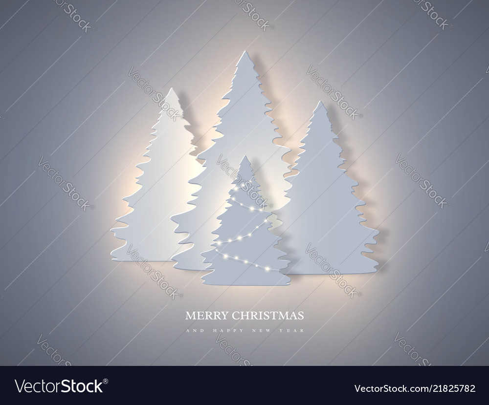 Christmas holiday banner with paper cut style fir