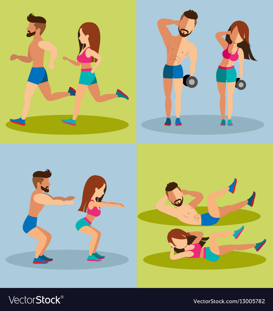Couple running and Weight Training Basic for