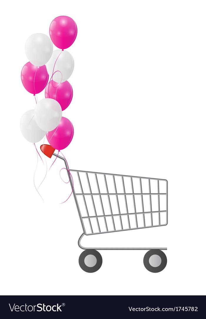 Empty Supermarket Shopping Cart Icon Isolated on