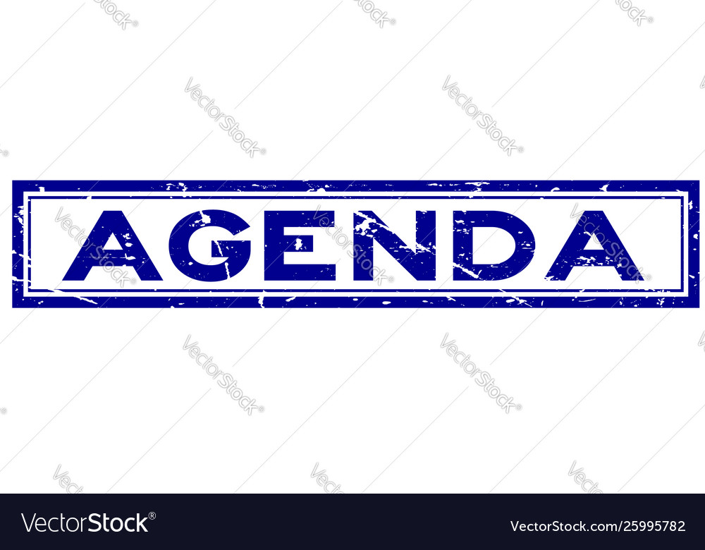 Grunge blue agenda word square rubber seal stamp