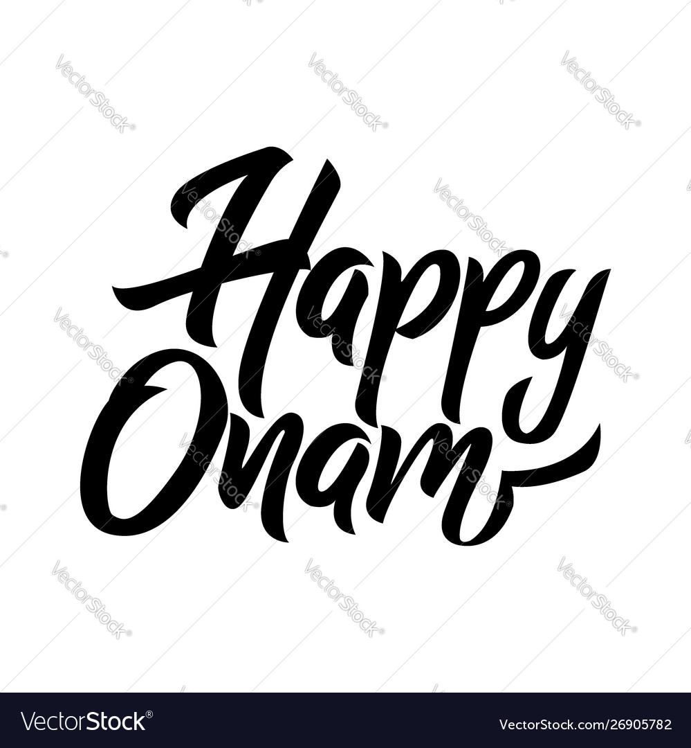Happy onam festival black handwriting lettering