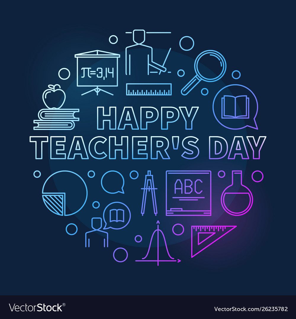 Happy teachers day round colorful linear
