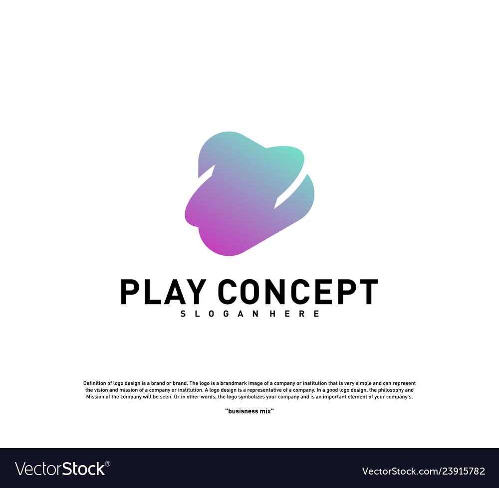 Play logo design concept planet play logo