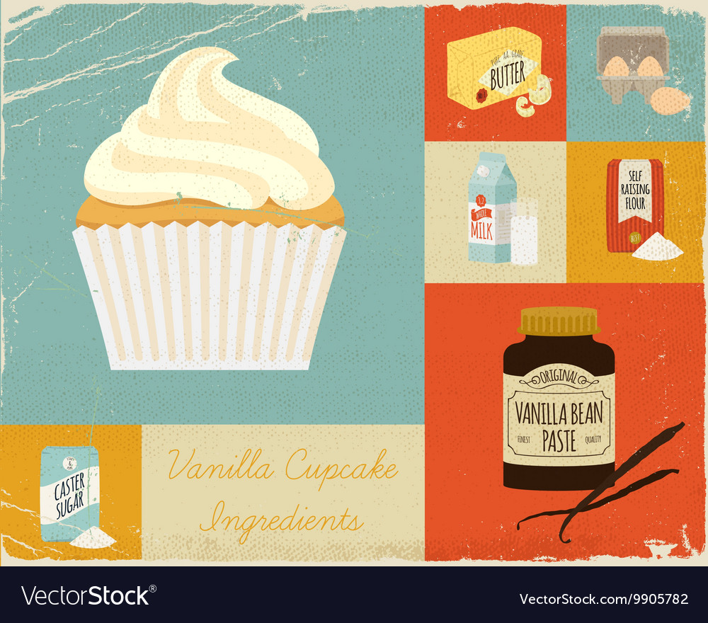 Retro Baking Poster Ingredients Royalty Free Vector Image