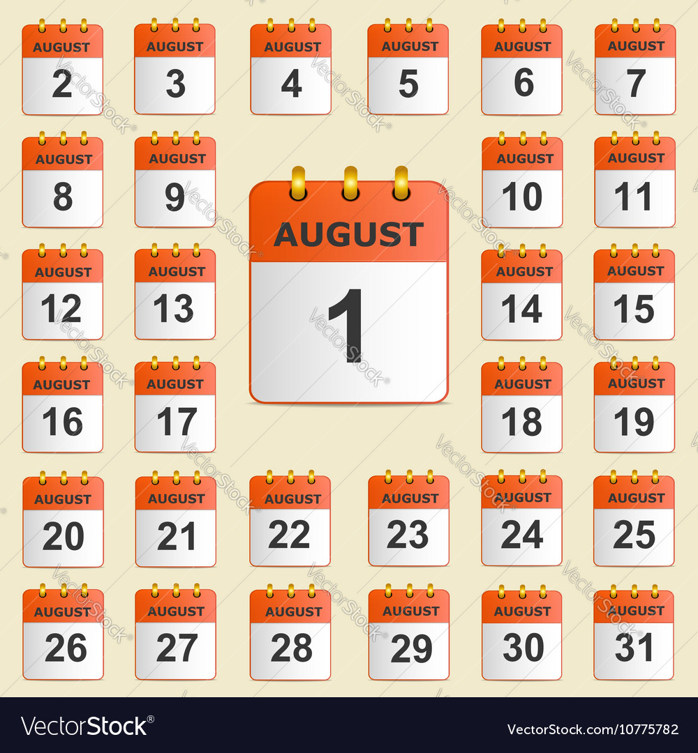 Set of icons for the calendar in August