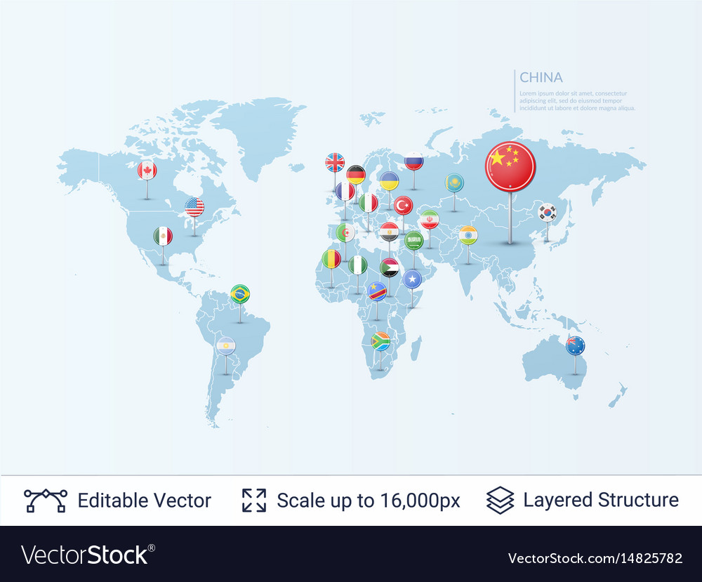 World map with flags royalty free vector image world map with flags vector image gumiabroncs Image collections