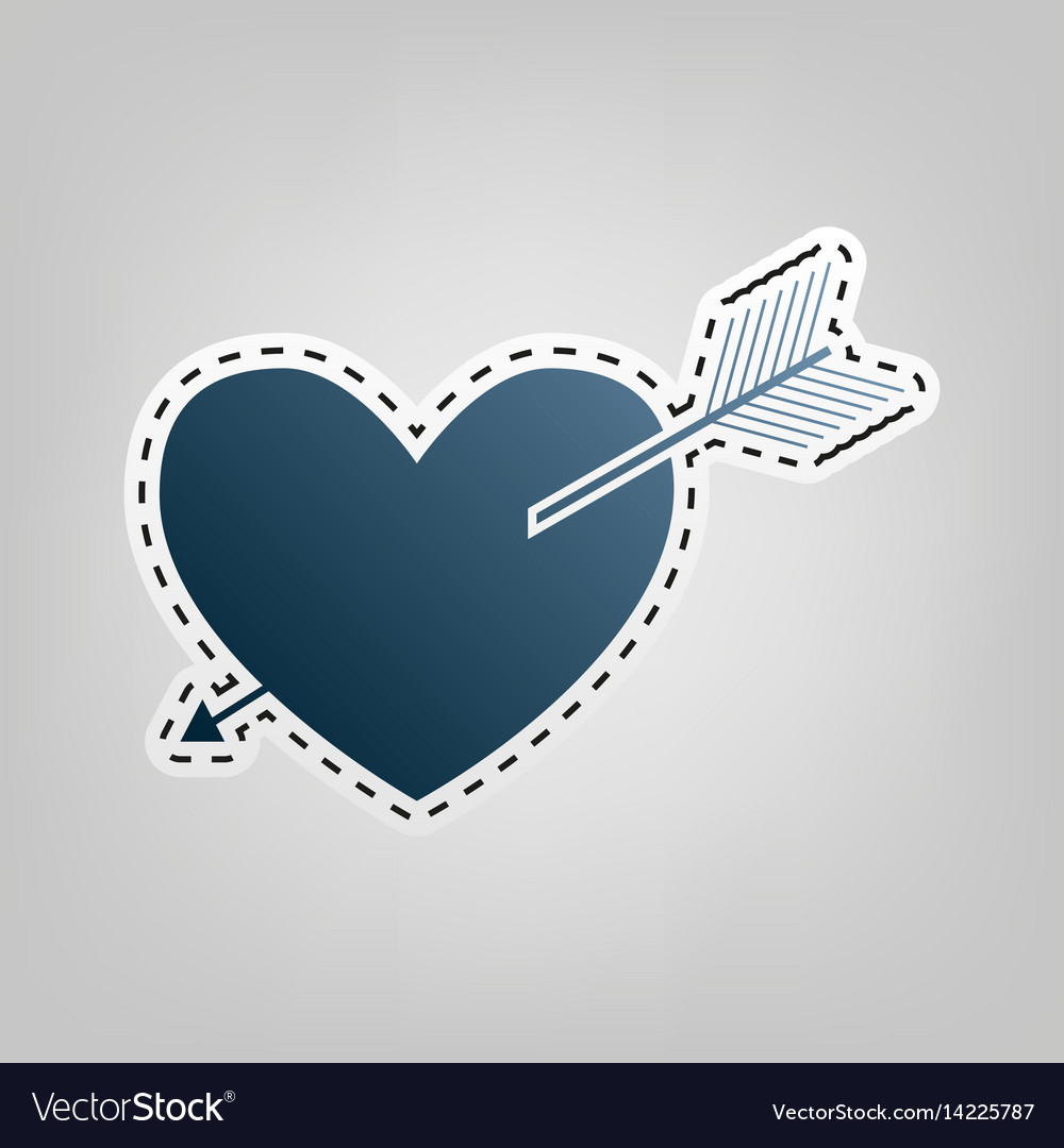 Arrow heart sign blue icon with outline
