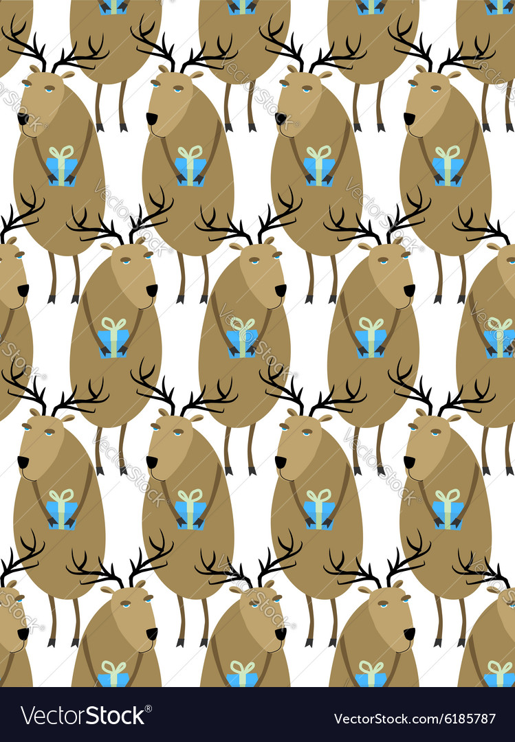 Christmas Reindeer with gifts seamless pattern
