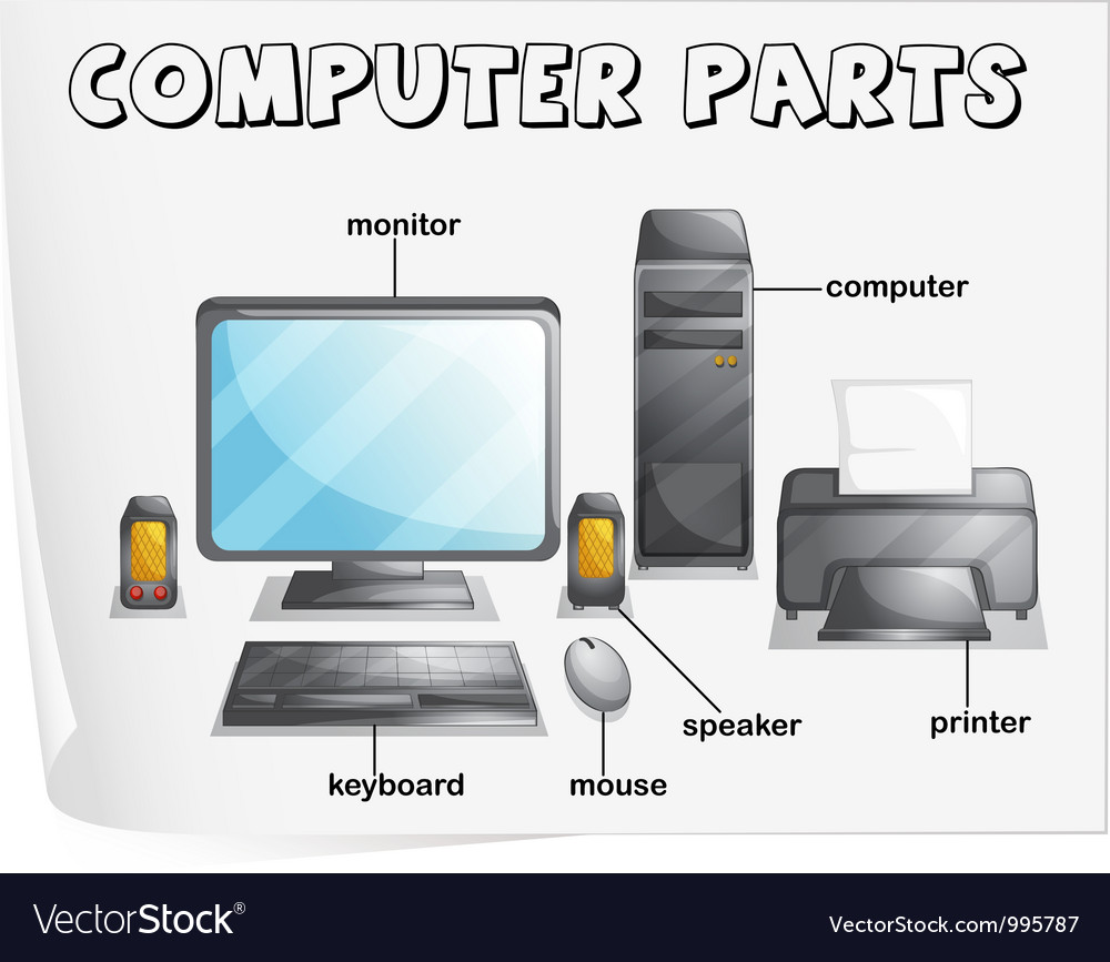Computer Parts Diagram Royalty Free Vector Image