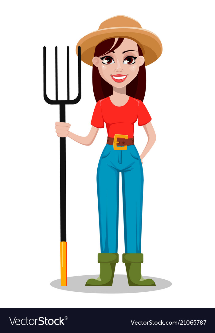 Female farmer cartoon character Royalty Free Vector Image