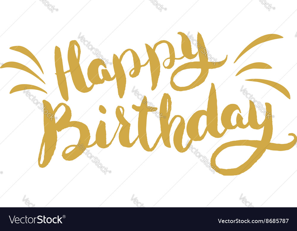 Happy Birthday Hand drawn lettering Greeting card