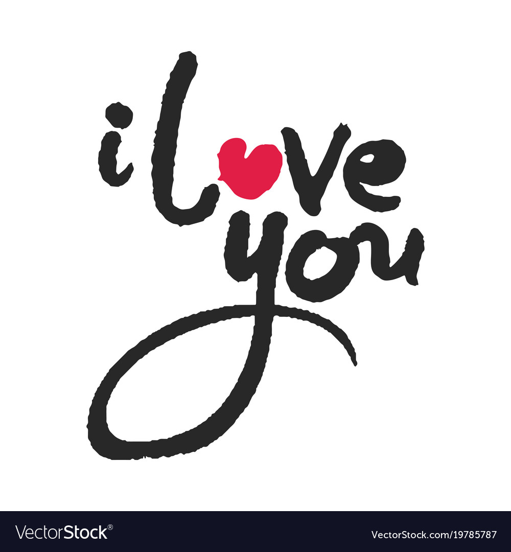 Download I love you calligraphy lettering with red heart Vector Image
