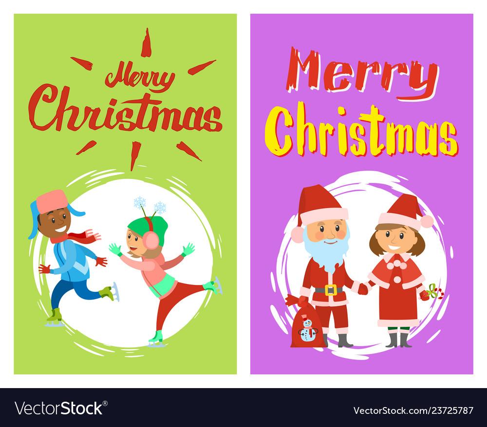 Merry christmas xmas winter holidays characters