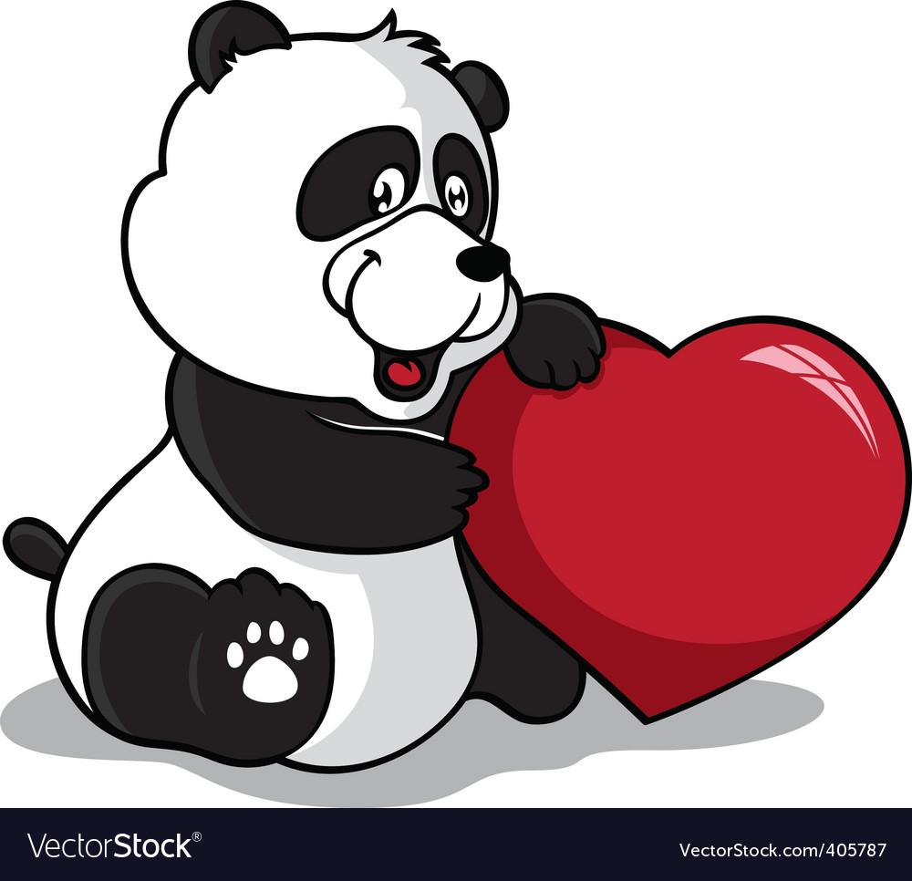 Panda holding heart