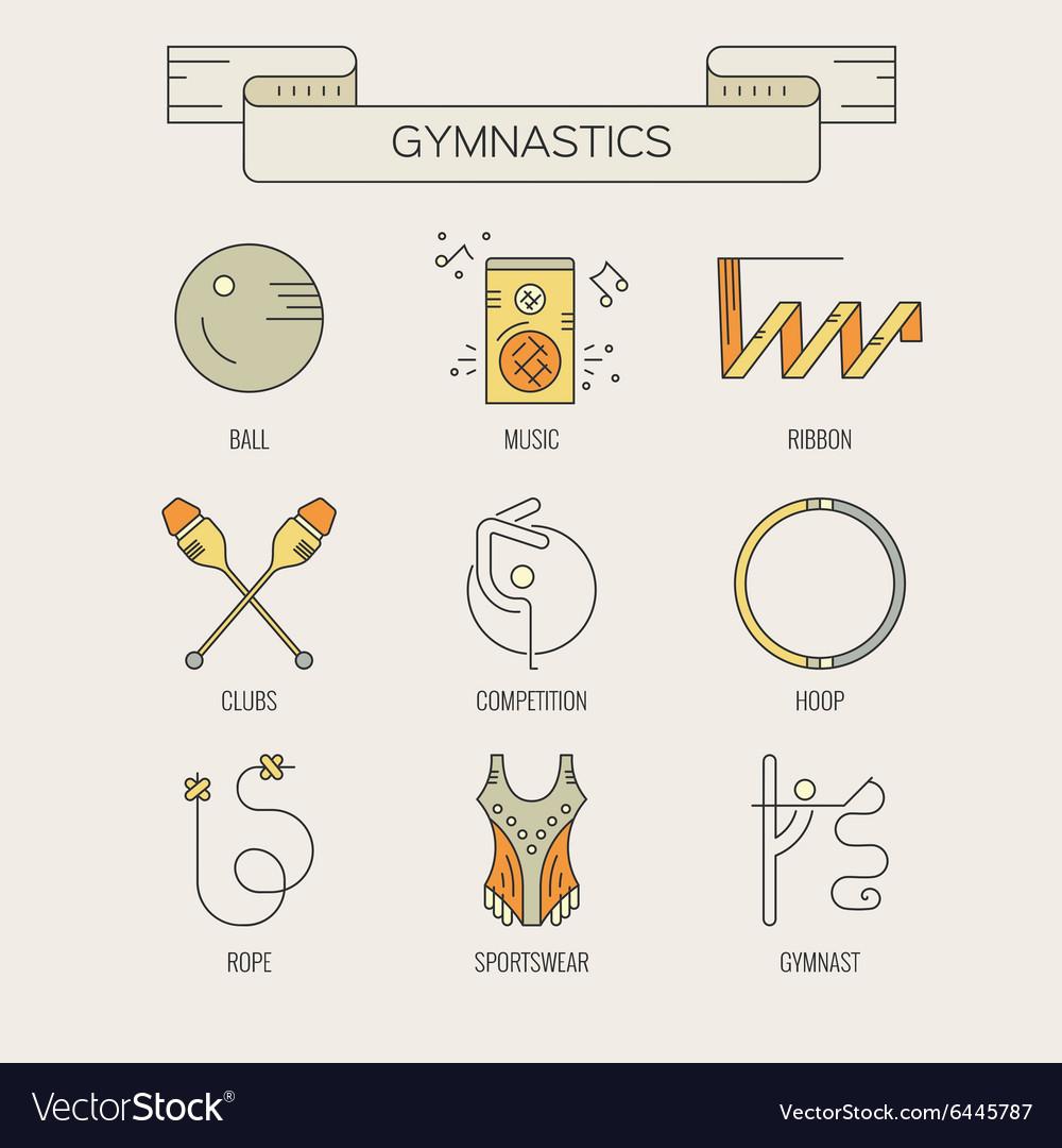 Rhythmic Gymnastics Icons Royalty Free Vector Image
