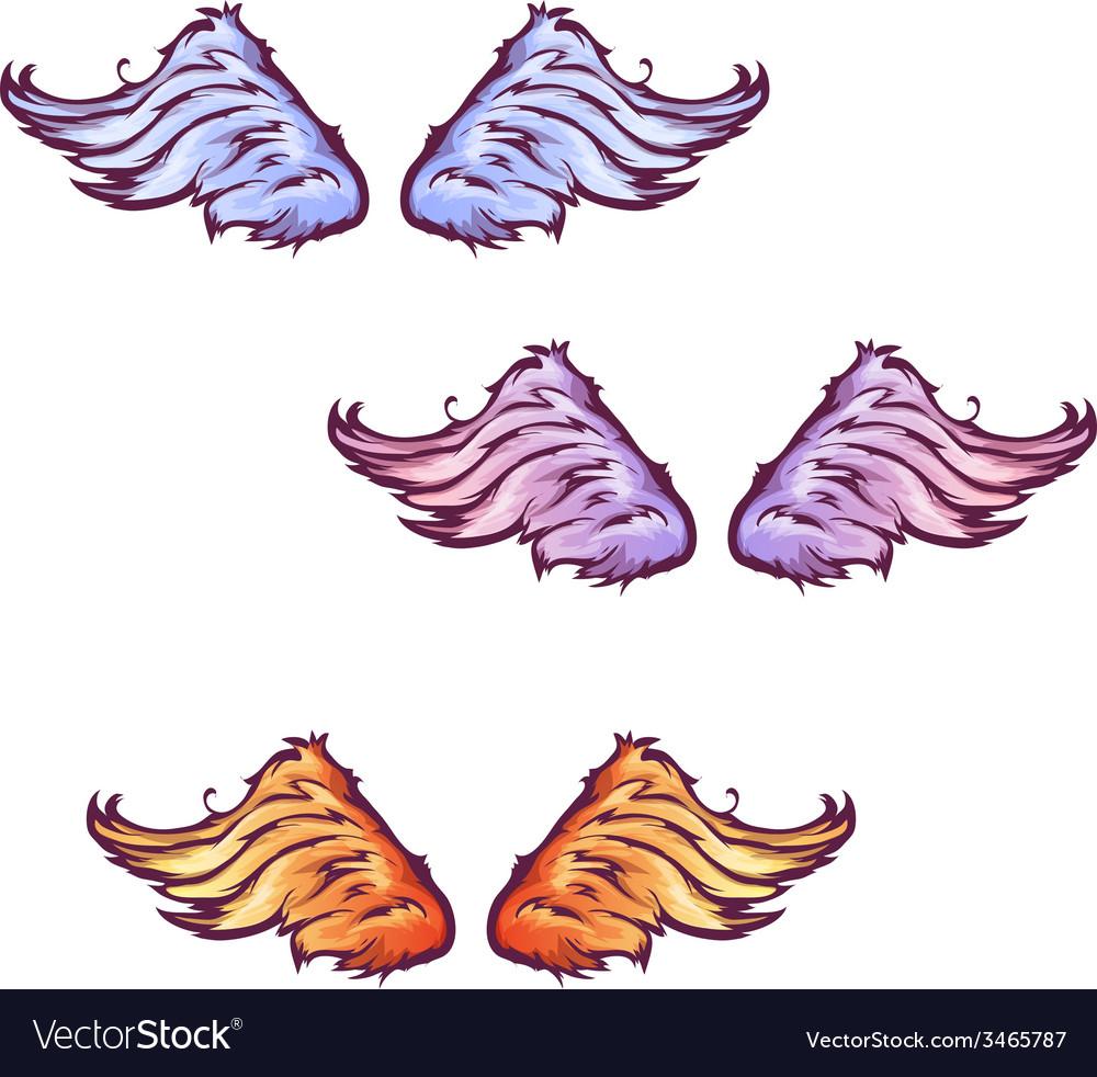 Set of cartoon beautiful wings
