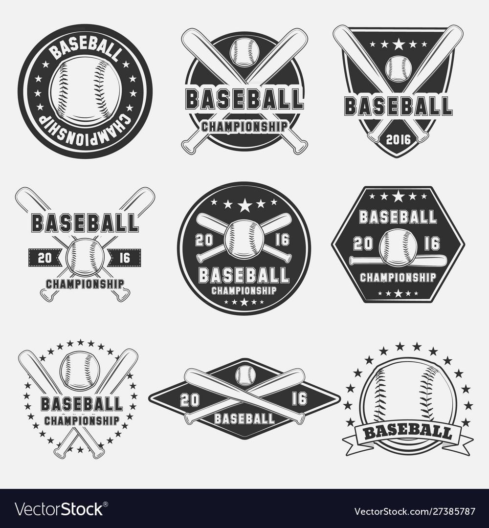 Set vintage baseball logo icon emblem badge