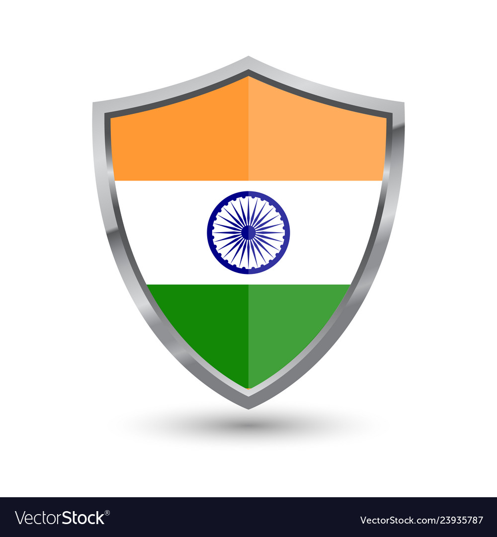 Shield with flag of india isolated