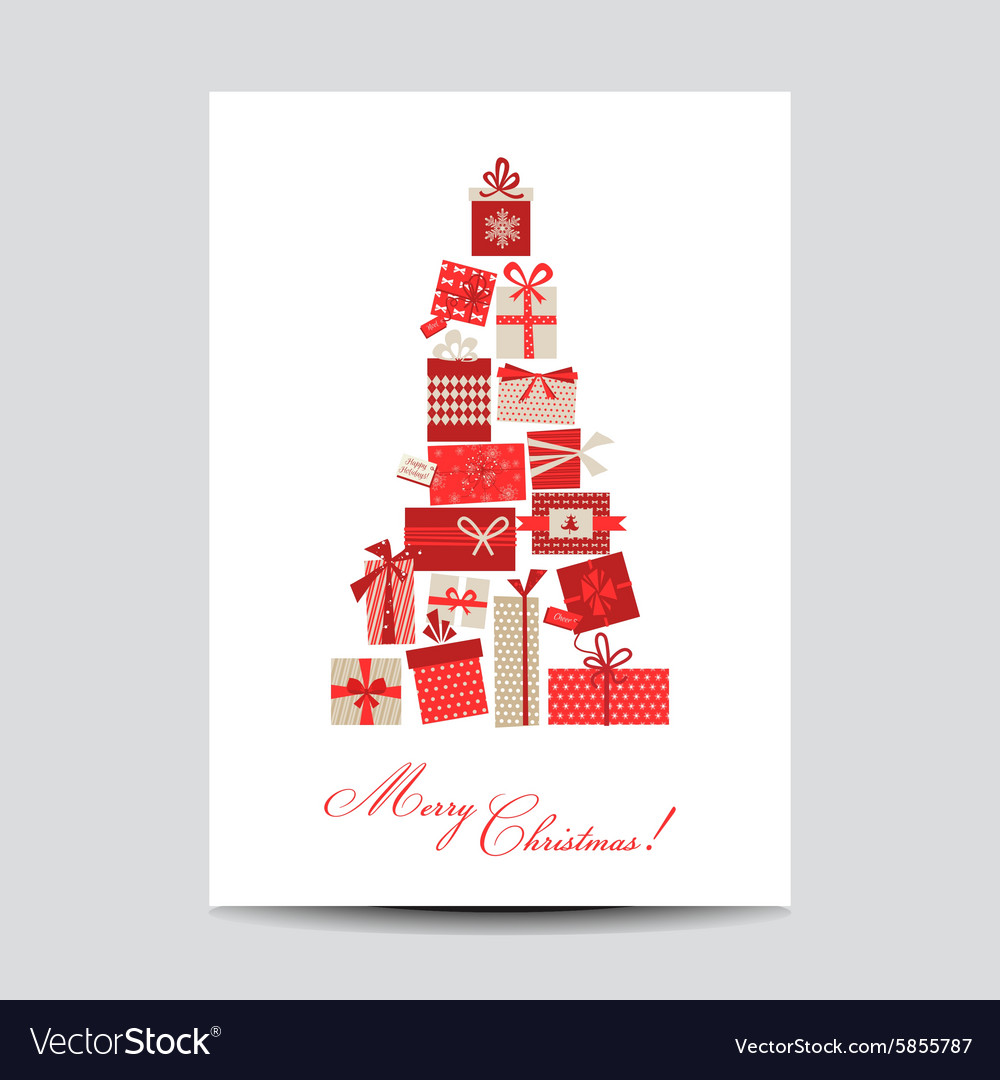 vintage christmas card christmas tree from gifts vector image - Vintage Christmas Gifts