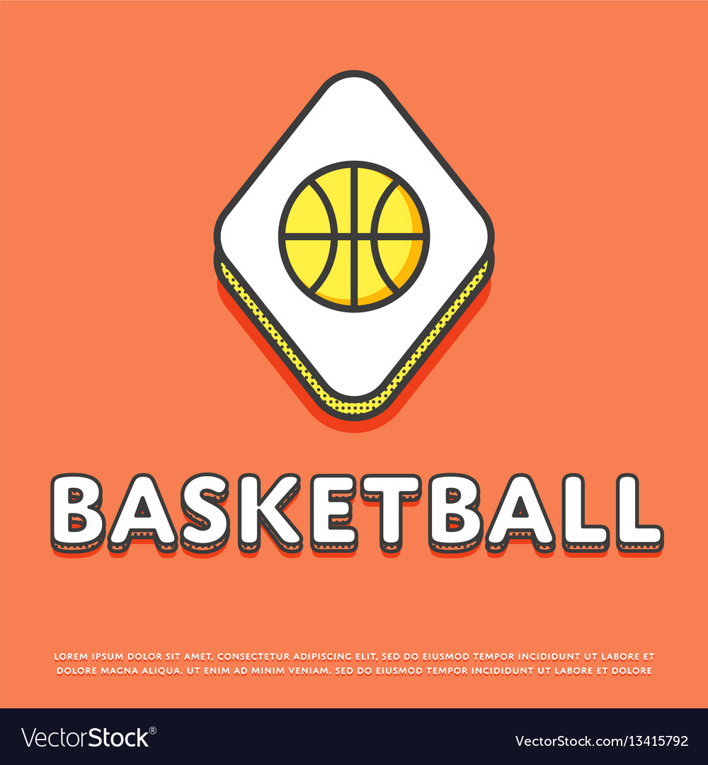 Basketball sport colour icon with ball