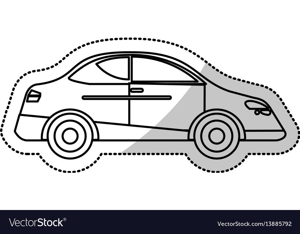Car sedan vehicle transport outline