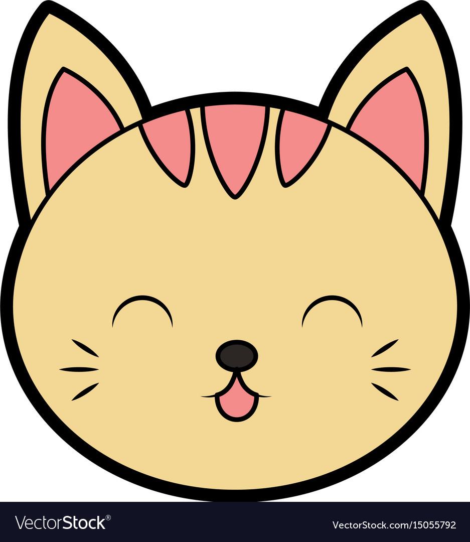 Cute Cat Face Cartoon Royalty Free Vector Image