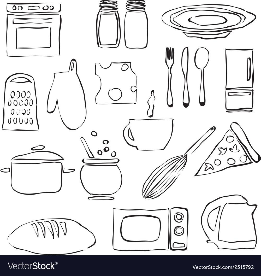 Doodle kitchen images vector image