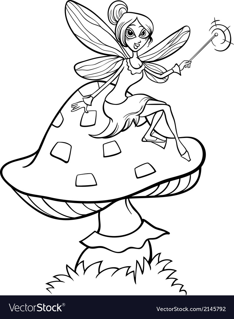 Elf fairy fantasy cartoon coloring page Royalty Free Vector