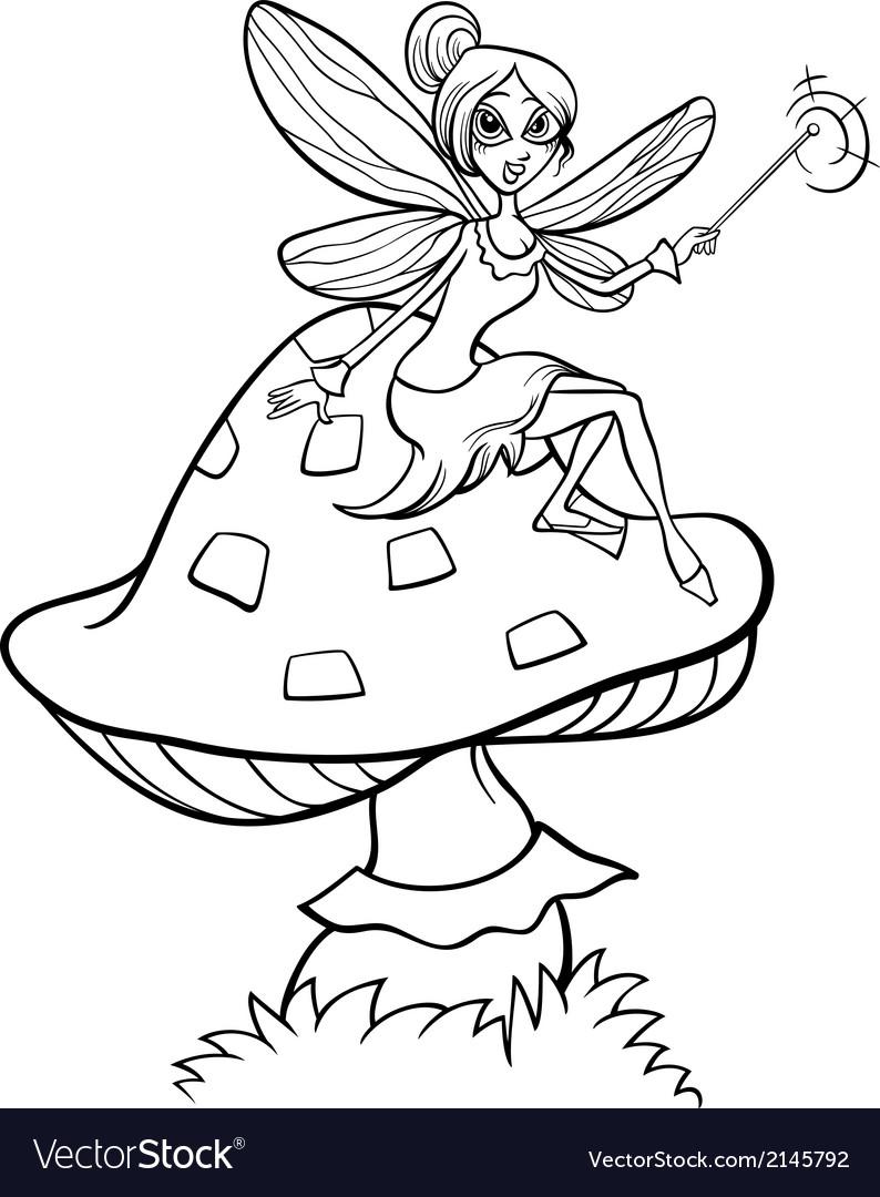 Elf fairy fantasy cartoon coloring page vector image