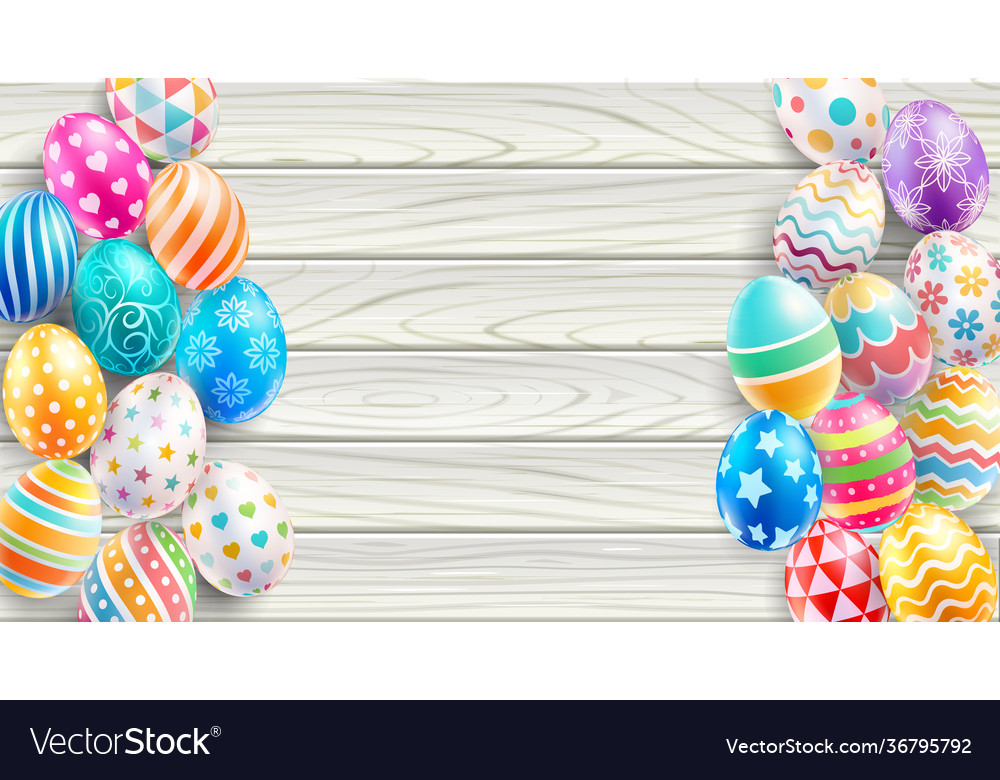 Happy easter day easter eggs on white wood color b