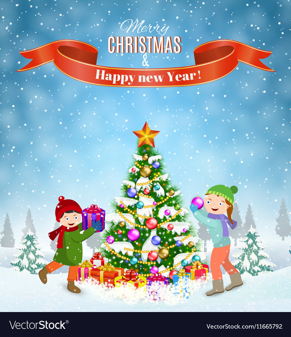 Kids decorating a Christmas tree Royalty Free Vector Image