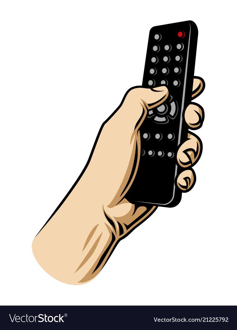 Male hand hoilding tv remote control