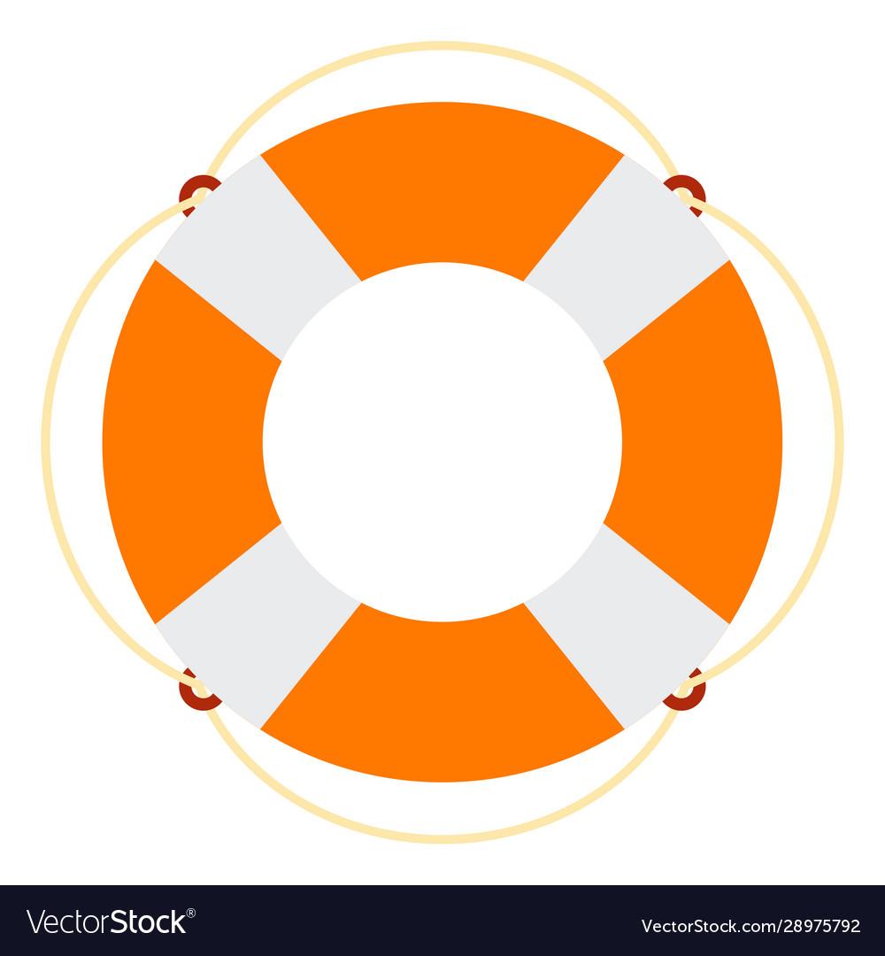 Marine lifebuoy icon flat isolated