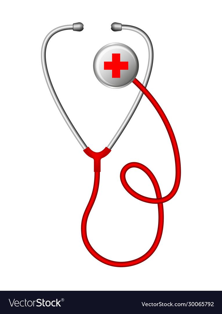 Realistic medical stethoscope phonendoscope
