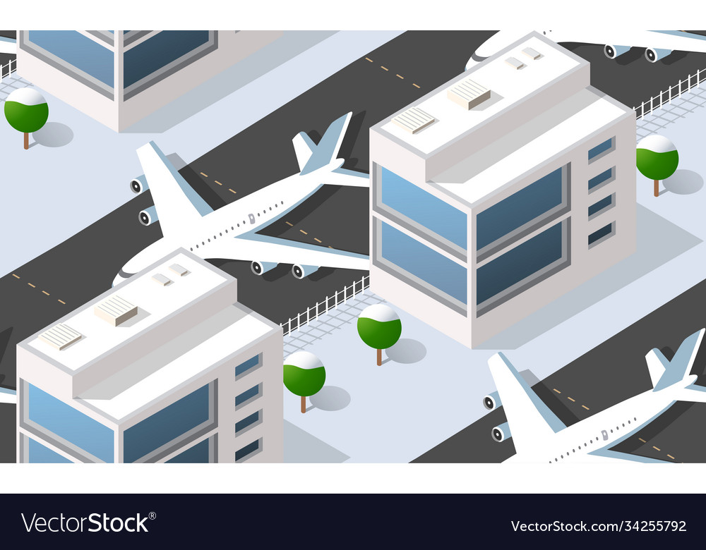 Seamless pattern isometric 3d city airport with
