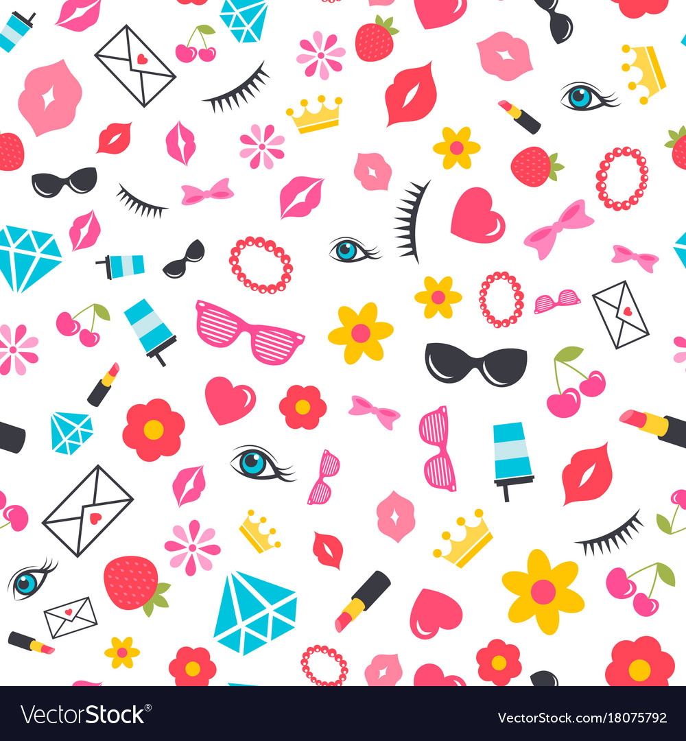Seamless pattern with stickers for girls vector image