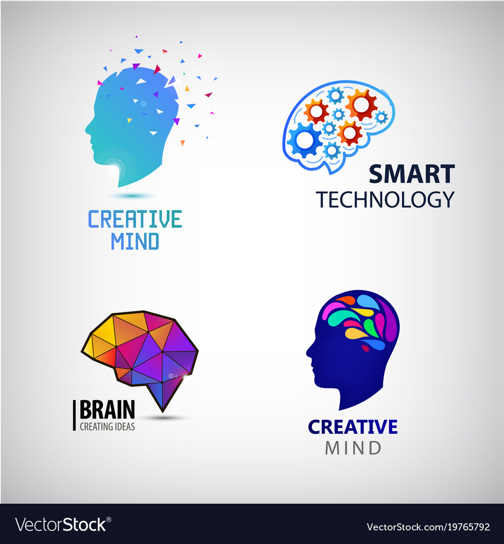 Set of creative mind brainstorm smart