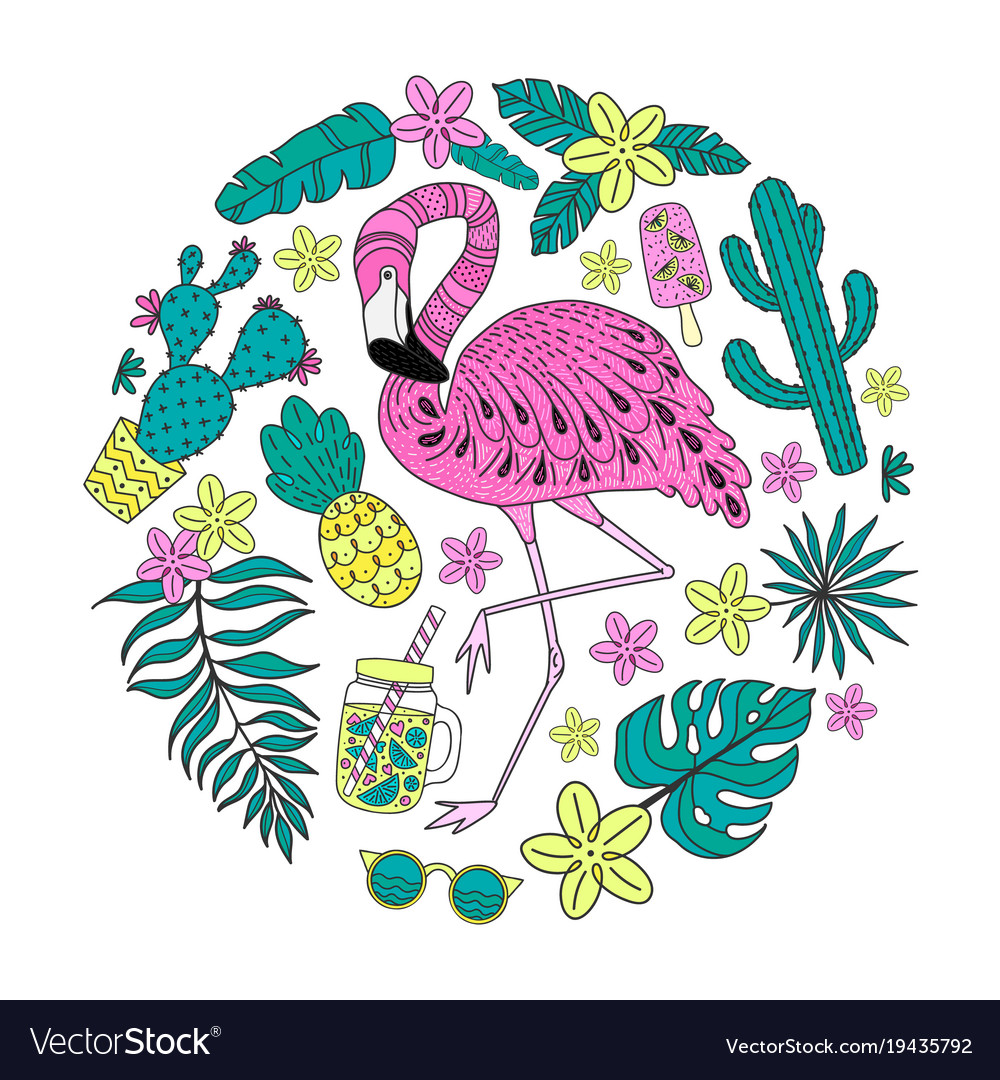 Set of hand drawn tropical elements with flamingo