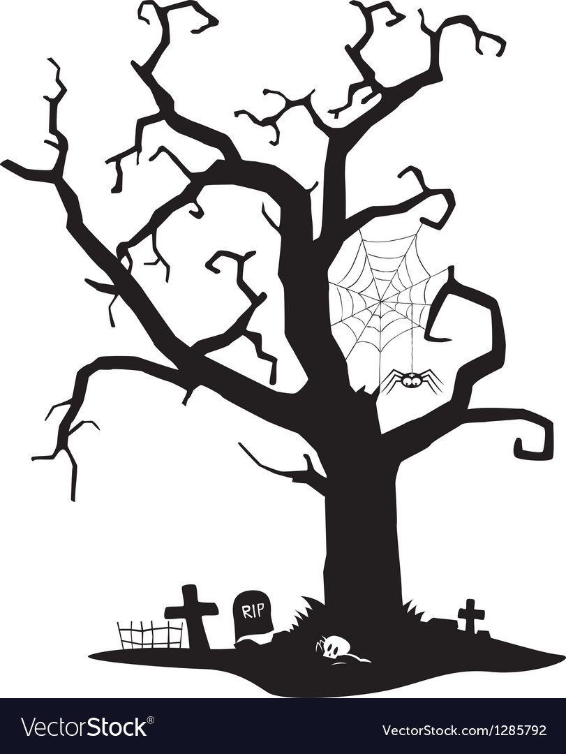 Spooky Silhouette Tree Royalty Free Vector Image