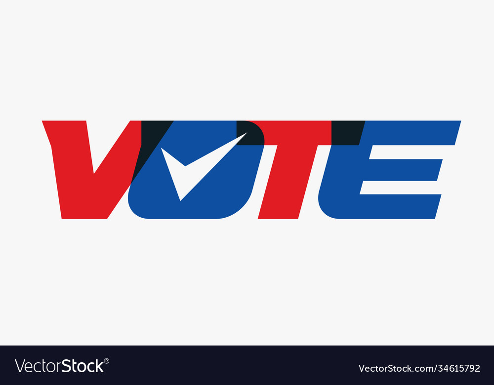 Vote uppercase capital bold letters red and blue