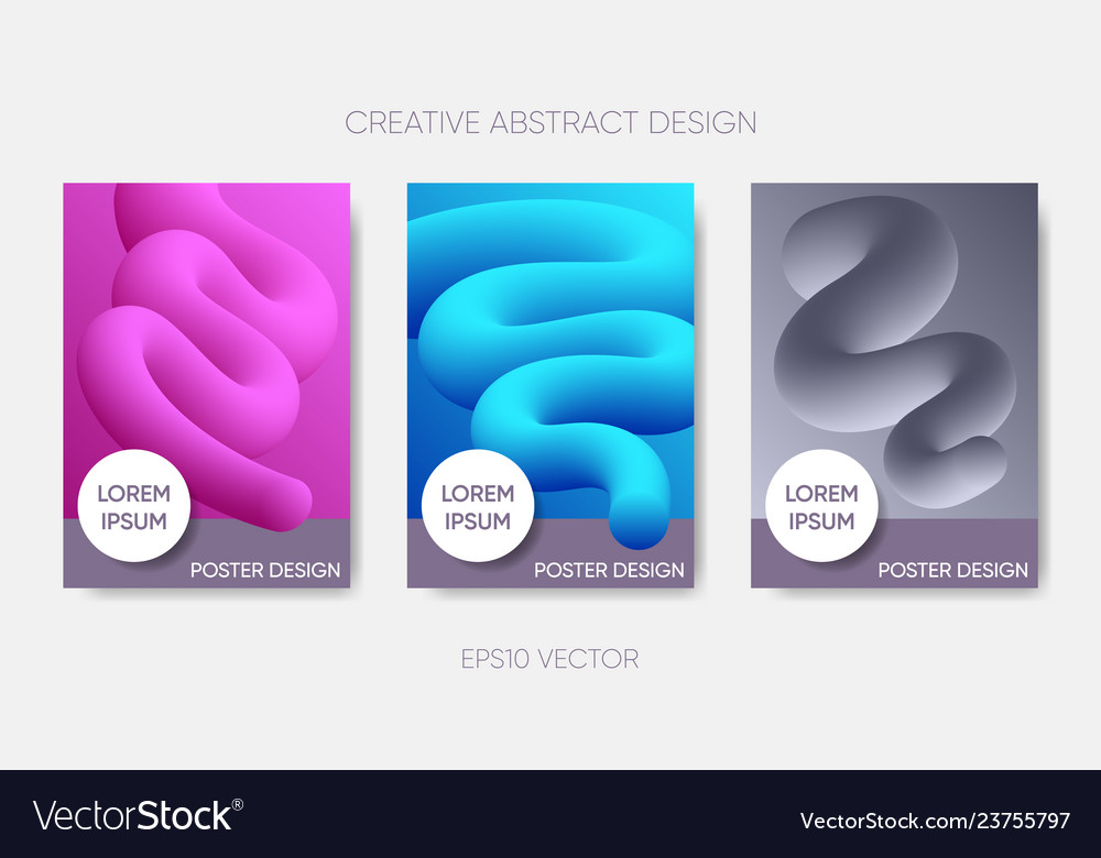 Abstract poster design fluid liquid shapes