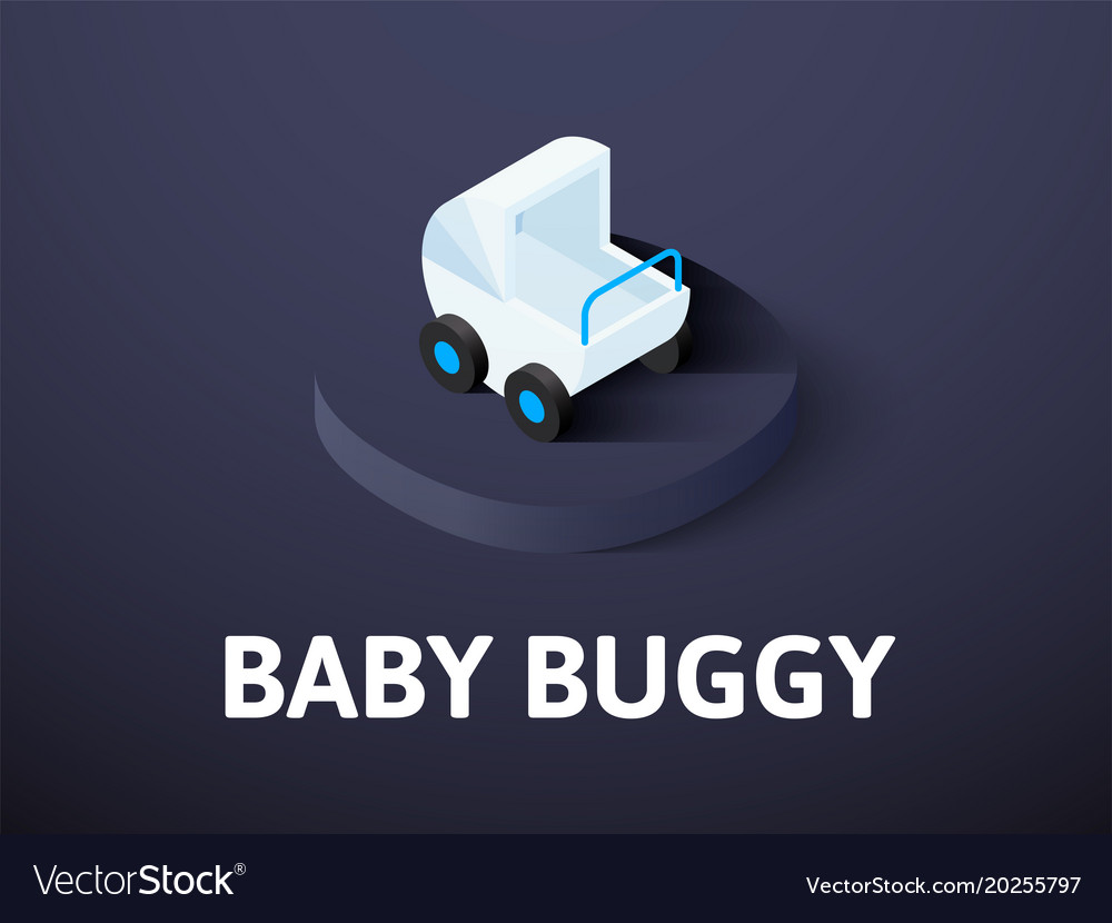 Baby buggy isometric icon isolated on color