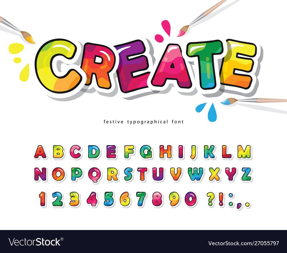 Cartoon colorful font for kids creative paint abc