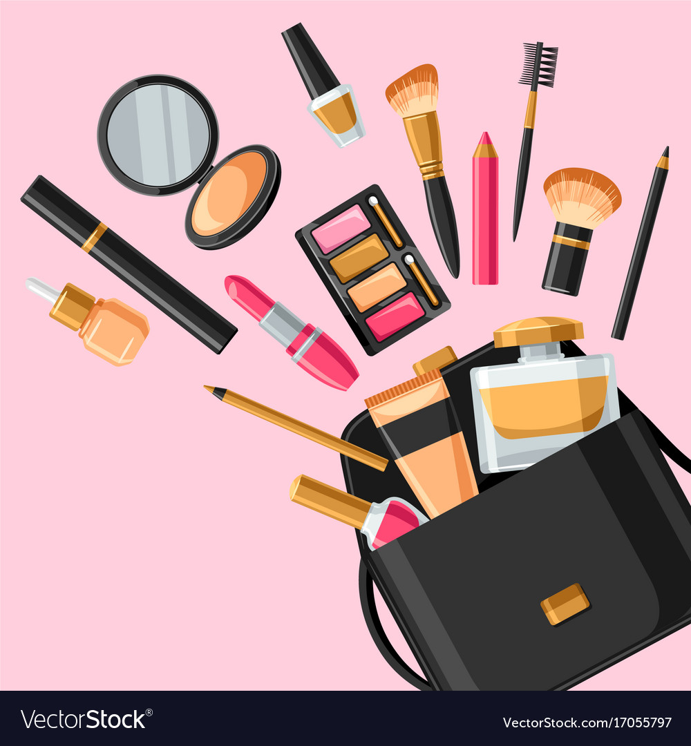 Skincare And Makeup Out Bag Vector Image