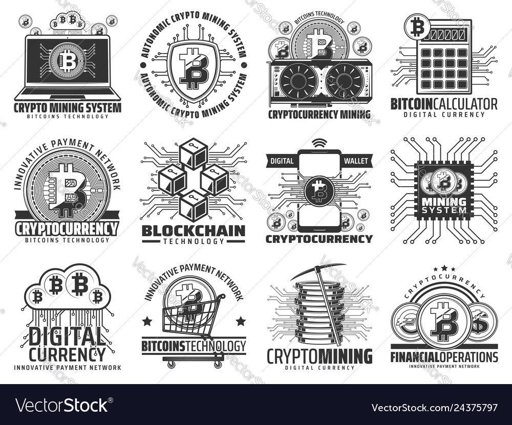 Cryptocurrency mining and blockchain icons