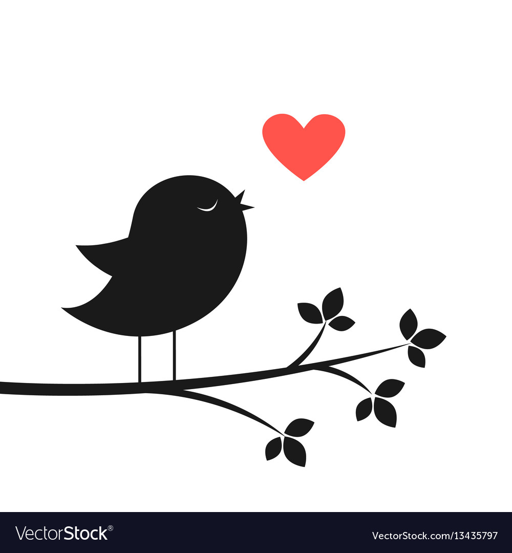 Cute bird and red heart