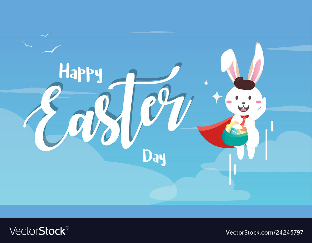 Easter bunny superhero holding easter egg